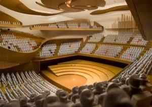 Auditorium acoustic solutions by Top Surface Building Materials Trading LLC